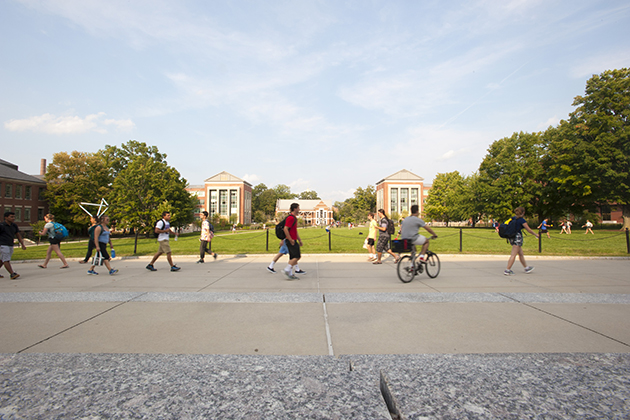 Scenic views of campus from the Student Union on Aug. 31, 2015. (Sean Flynn/UConn Photo)