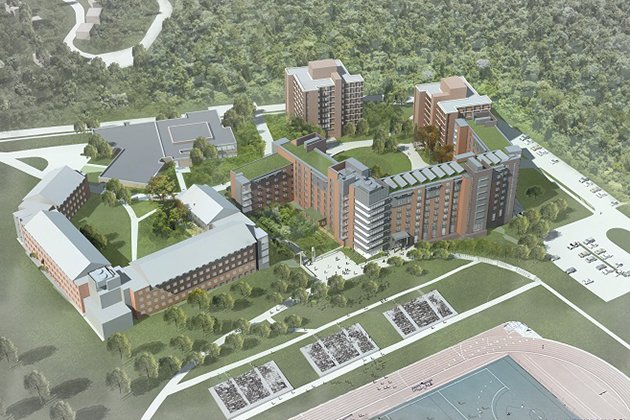 An aerial view of the new STEM residence hall. (Courtesy of Newman Architects)