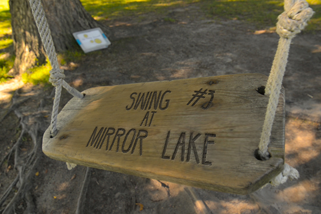 The swing beside Mirror Lake. (Elizabeth Caron/UConn Photo)