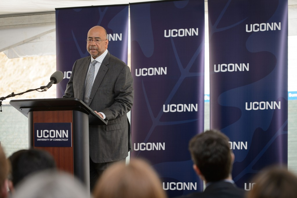 Rod Powell, president of corporate citizenship at Eversource Energy, speaks at the groundbreaking ceremony for the Innovation Partnership Building on Oct. 14, 2015. (Peter Morenus/UConn Photo)