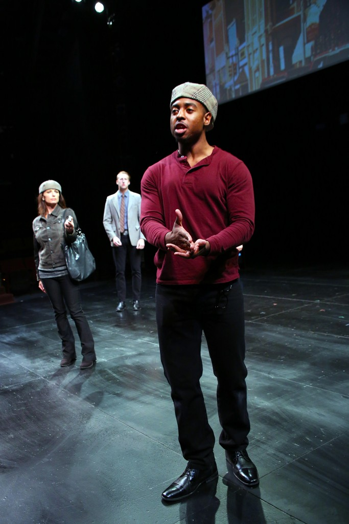MFA student Bryce Wood, front, Brandy Burre, center, and Josh McCabe in THE LARAMIE PROJECT by Moisés Kaufman and the members of Tectonic Theatre Project onstage in Connecticut Repertory Theatre's Nafe Katter Theatre from October 8-18, 2015. Tickets and Info at crt.uconn.edu. Photo by Gerry Goodstein