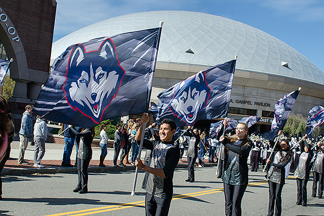 The parade during Huskies Forever Weekend on Oct. 11, 2015. (Roger Castonguay for UConn)
