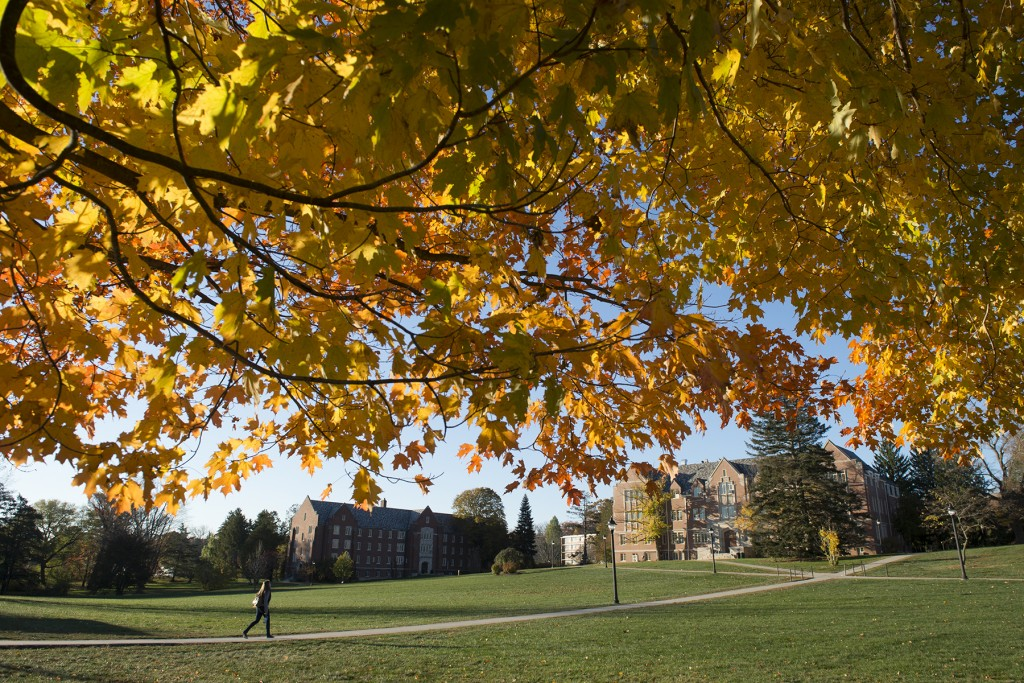 A morning view of Manchester Hall, the Family Studies Building and the Great Lawn on Oct. 25, 2013. (Peter Morenus/UConn Photo)