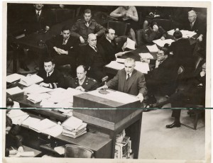 Thomas J. Dodd addressing the International Military Tribunal in Nuremberg. (Thomas J. Dodd Papers, Archives & Special Collections at the Thomas J. Dodd Research Center, University of Connecticut Libraries)