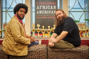 Darian Spearman, and Thomas Meagher, both graduate students of philosophy, at the African American Cultural Center on Nov. 4, 2015. (Peter Morenus/UConn Photo)