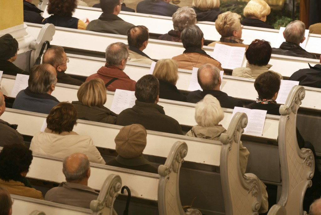 A homogeneous (white) congregation in church. (iStock Photo)
