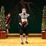 Andrew Ramcharan Guilarte, center, as Malvolio, along with, from left, Richard Ruiz '88 MFA, Mark Blashford MFA candidate in puppetry, ,and Curtis Longfellow, MFA candidate in acting, in Connecticut Repertory Theatre's production of 'Twelfth Night,' by William Shakespeare. (Gerry Goodstein for UConn)