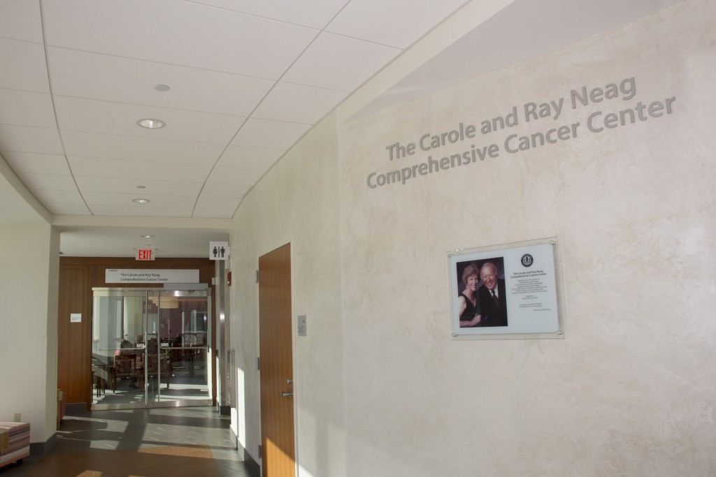 Entrance to the Carole and Ray Neag Cancer Center in the Outpatient Pavilion at UConn Health. (Janine Gelineau/UConn Health Photo)