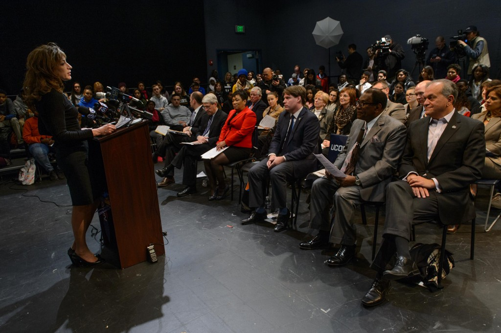 President Susan Herbst speaks during an event to announce an additional financial commitment for New Haven Promise students held at the Cooperative Arts and Humanities High School in New Haven on Dec. 1, 2015. (Peter Morenus/UConn Photo)