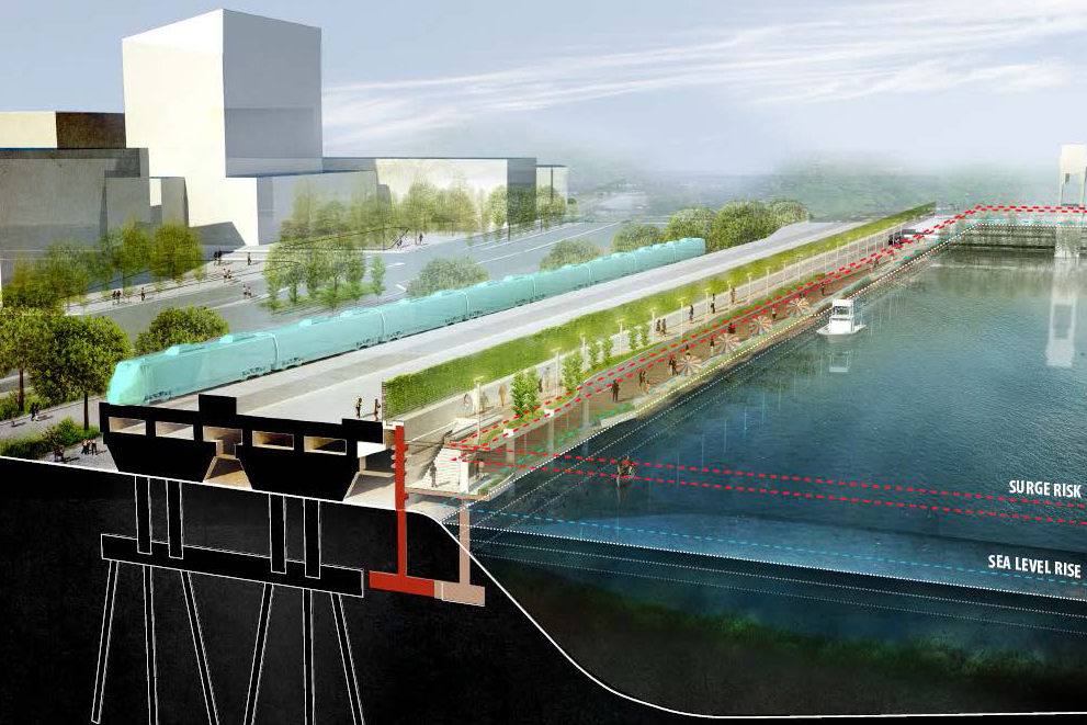 Architectural rendering of University Avenue, Bridgeport, after the resilience project is finished. The street will be raised and provide pedestrian and train access between the South End and downtown Bridgeport, while protecting the interior of the South End from floodwaters.