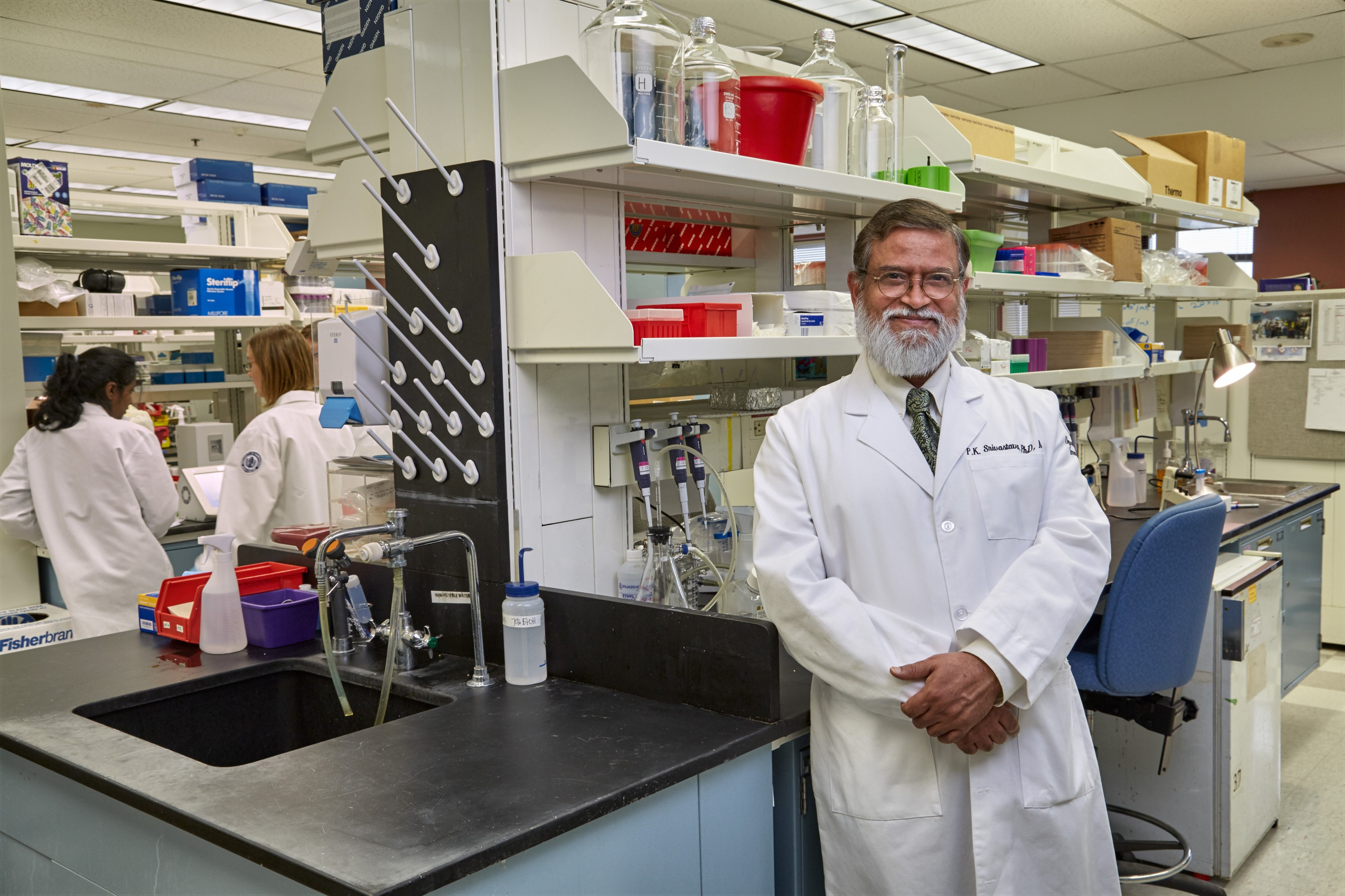 Dr. Pramod Srivastava, ovarian cancer researcher at UConn Health on Oct. 1, 2014. (Lanny Nagler for UConn)