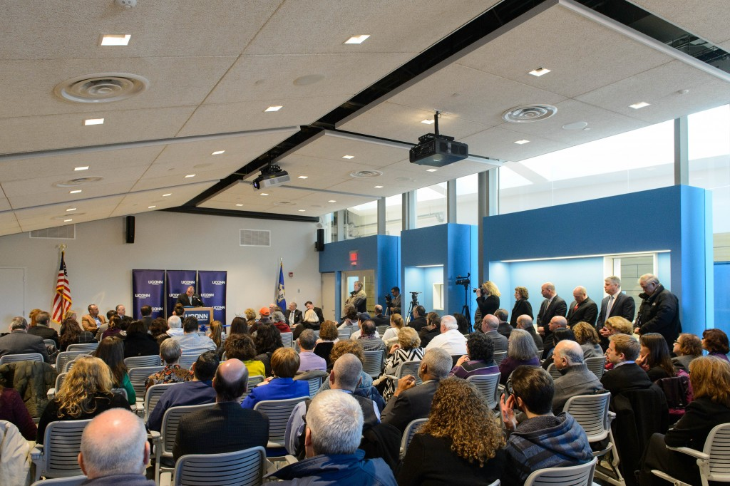 Mayor Neil O'Leary speaks during the dedication ceremony for the Rectory Building at the Waterbury Campus on Jan. 5, 2016. (Peter Morenus/UConn Photo)