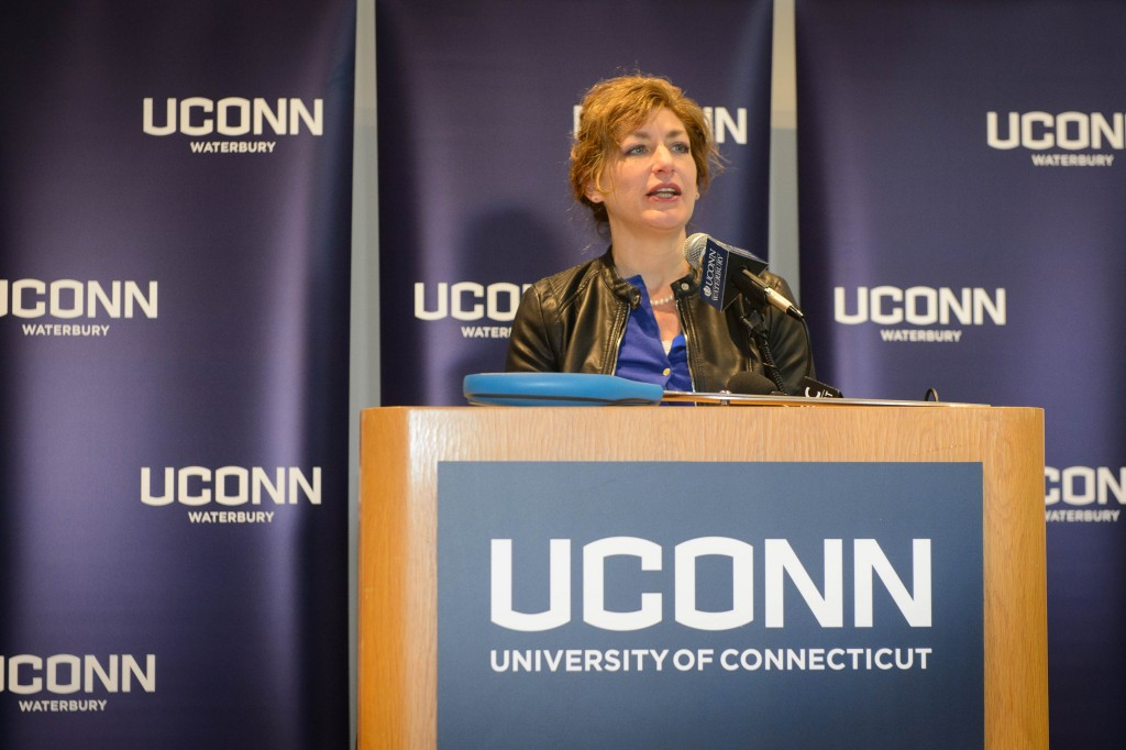 President Susan Herbst speaks during the dedication ceremony for the Rectory Building at the Waterbury Campus on Jan. 5, 2016. (Peter Morenus/UConn Photo)
