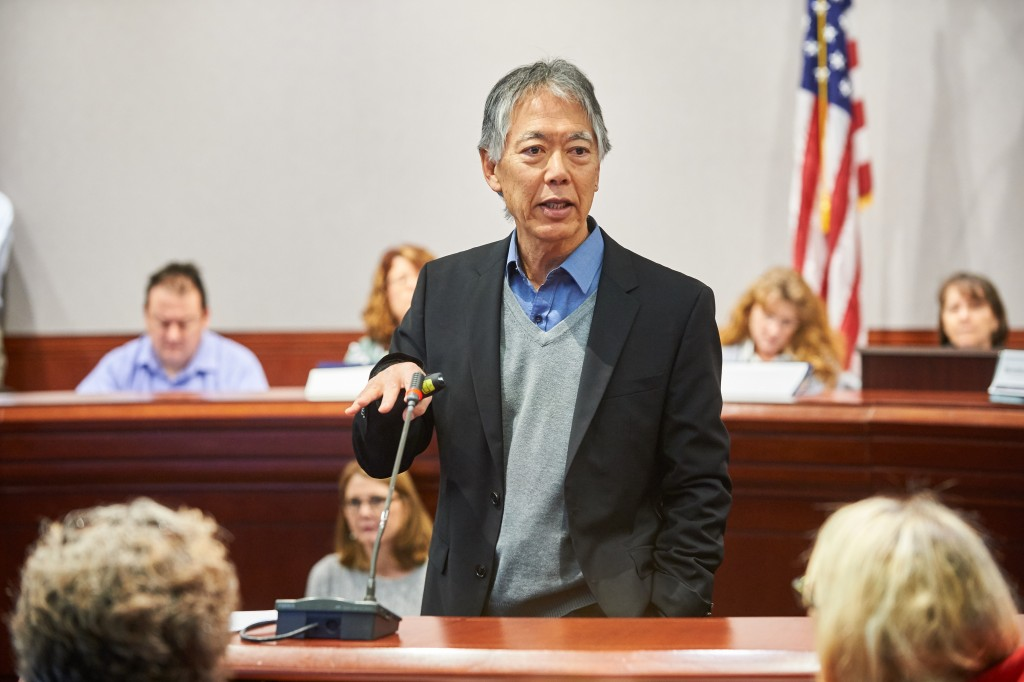 eorge Sugai, professor of educational psychology, speaks during a presentation on hands-off behavioral interventions held at the Legislative Office Building at the state capitol on Jan. 27, 2016. (Peter Morenus/UConn Photo)
