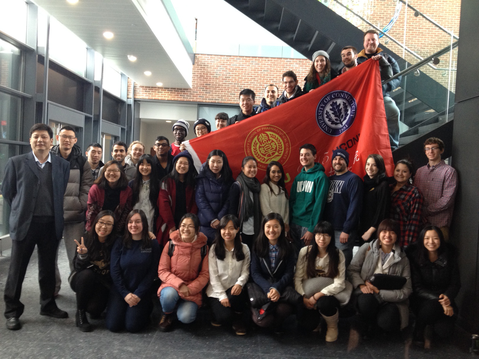Group photo of Peking University Students at the UConn School of Pharmacy