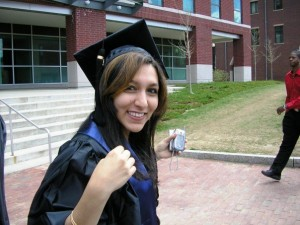 2007: UConn undergraduate Mona Shahriari prepares for commencement in Storrs. (Photo submitted by Mona Shahriari)