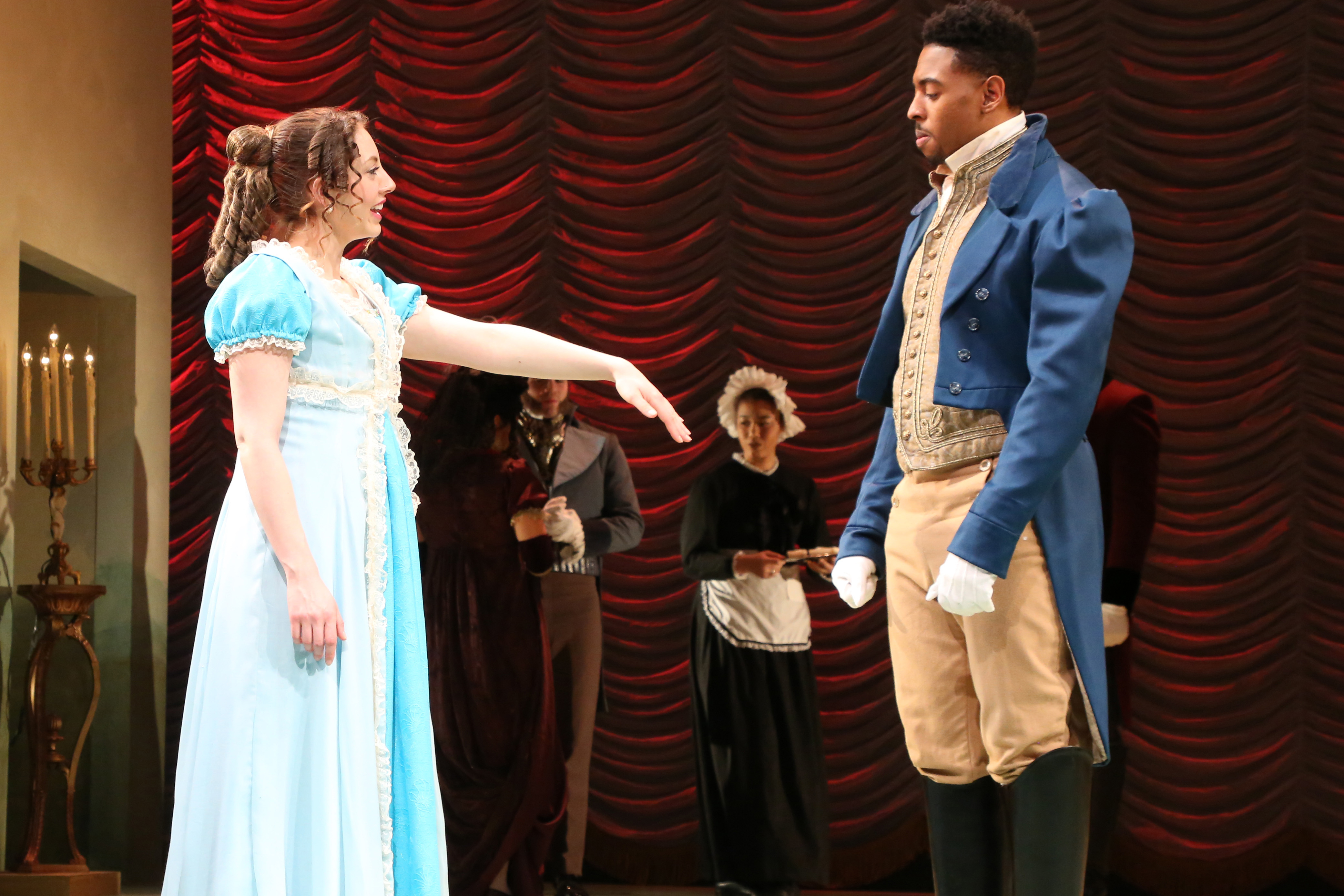 Susannah Resnikoff '16 (SFA) (Marianne Dashwood) and Bryce Wood '16 MFA Acting (Willoughby) in 'Sense and Sensibility,' adapted by Joseph Hanreddy and JR Sullivan from the novel by Jane Austen. (Gerry Goodstein for UConn)
