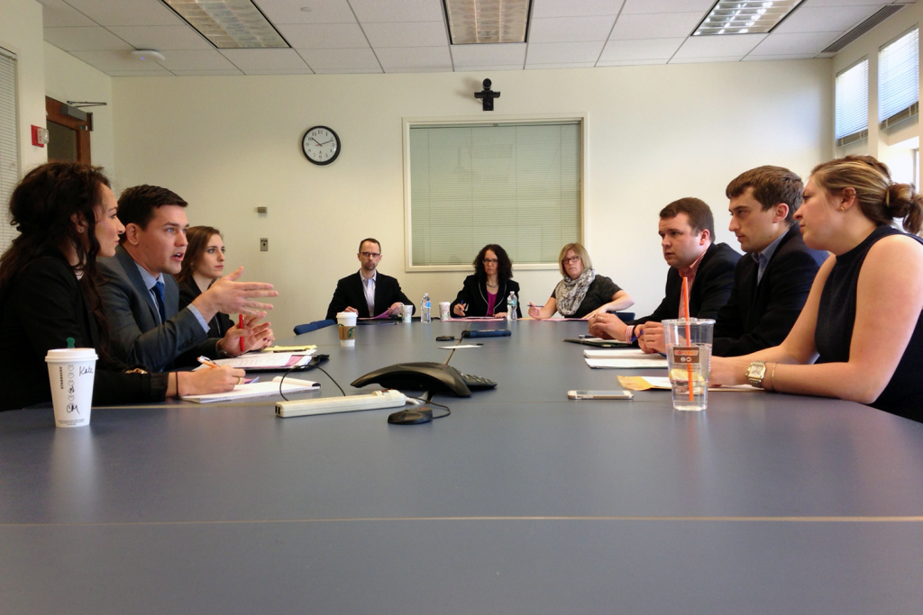 Students in the Business Law Negotiation Competition.
