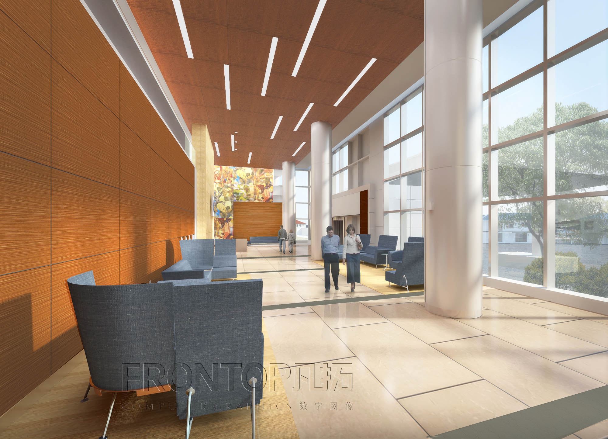 An architectural rendering of the main An architectural rendering of the main lobby in the new tower at UConn John Dempsey Hospital.