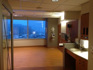 The patient rooms in the new tower are larger, allowing more room for patients and caregivers to maneuver safely. (Photo by Frank Barton)