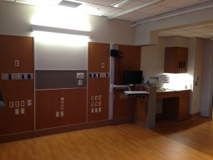 All patient rooms in the new tower at UConn John Dempsey Hospital will be private. (Photo by Frank Barton)