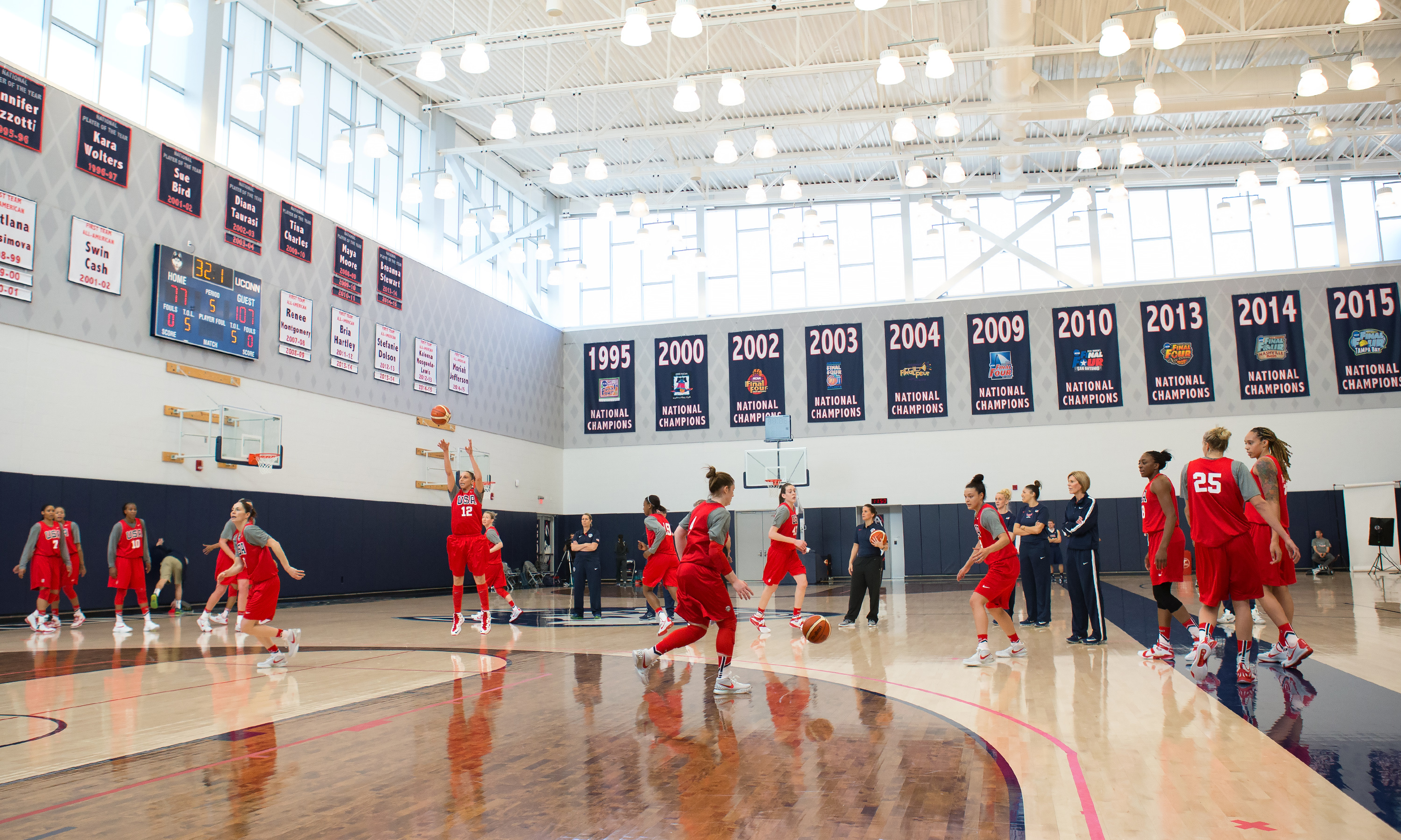 Finalists for the 2016 USA Women's Basketball team try out in the Werth Family UConn Basketball Champions Center during the Olympic Training camp Feb. 21-23. (Stephen Slade '89 (SFA) for UConn)