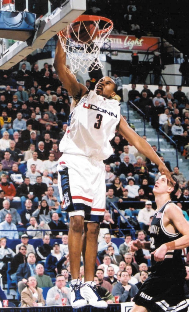 Between 2000 and 2002, former Husky Caron Butler earned All-American honors, was the Big East Conference Player of the Year and the Tournament Most Outstanding Player in 2001-02, and led the Huskies to the NCAA Elite Eight. He has since pursued a career in the NBA. (UConn Athletic Communications Photo)