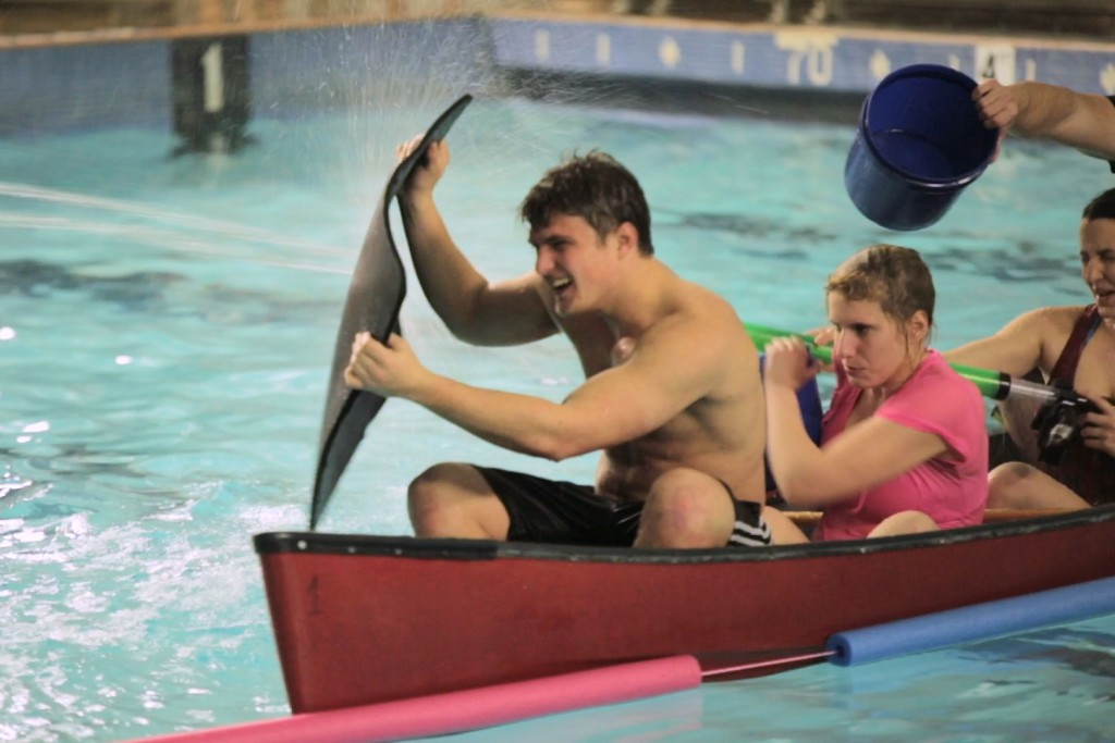 Six canoes enter. One canoe leaves. Students participated in a Canoe Battleship tournament this week where six crews tried to sink enemy ships. (Timothy Henning '18 (SFA)/UConn Photo)