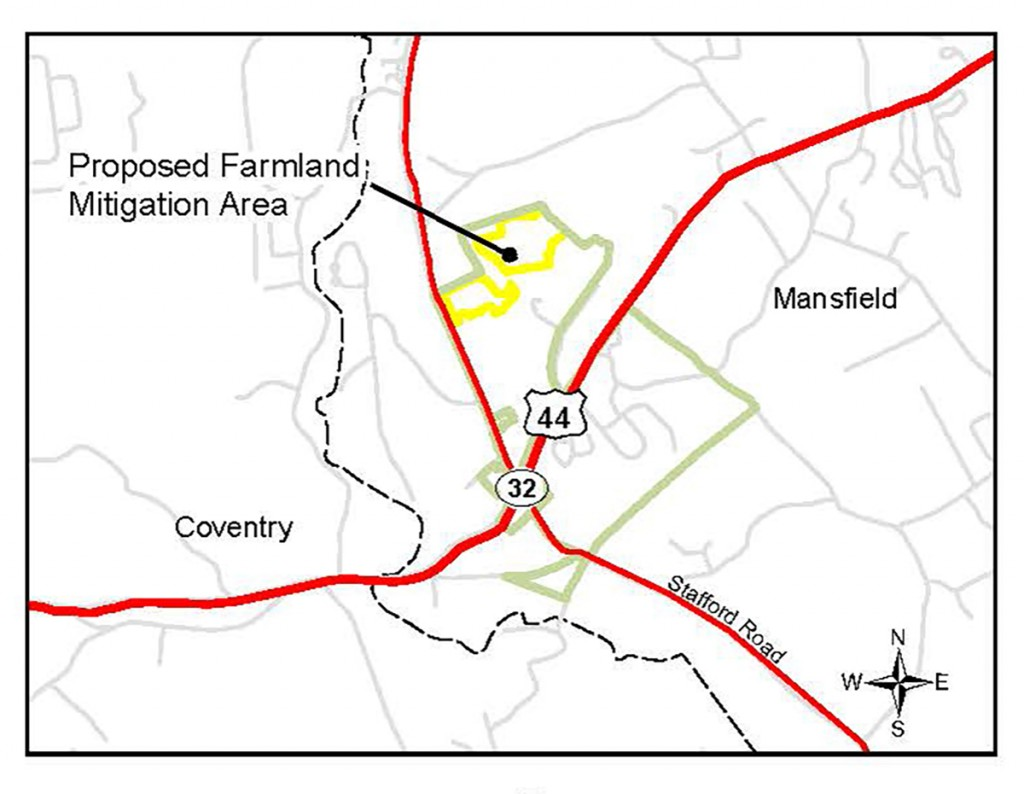 Map showing the nearly 40 acres of land that will be returned to agricultural use.