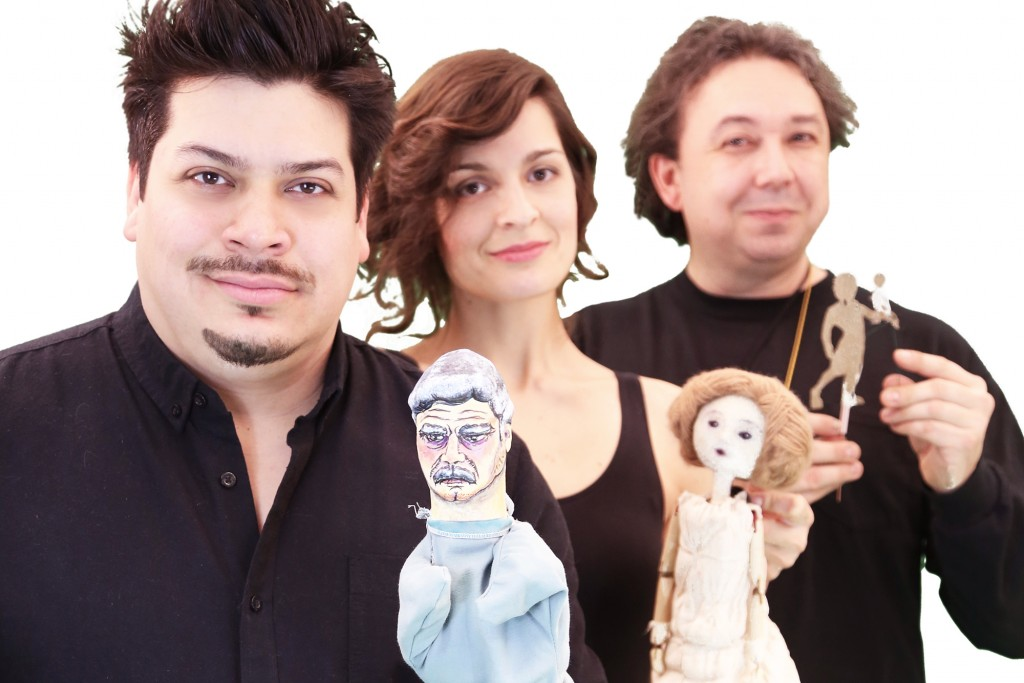 From left, MFA puppeteers Kalob Martinez, Ana Crăciun-Lambru, and Gavin Cummins present a triple bill for the MFA Puppet Arts Festival onstage at the Studio Theatre March 24-April 3. (Gerry Goodstein for UConn)