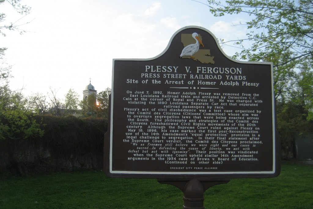 Plessy Park, Press Street, Lower Faubourg Marigny at the edge of Bywater, New Orleans. Plaque on history of Plessy v. Ferguson case. (Wikimedia Commons Photo)