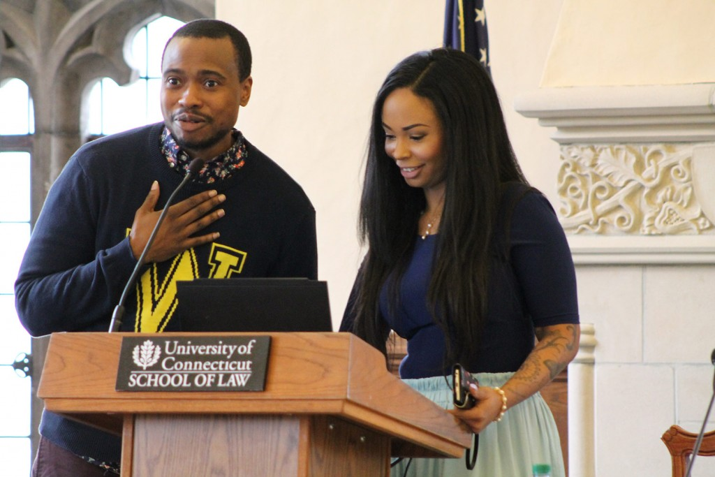 Kim Katrin Milan and her husband, Tiq Milan, delivered the keynote address at the symposium LGBTQ Youth and the Law at UConn School of Law on March 4, 2016.