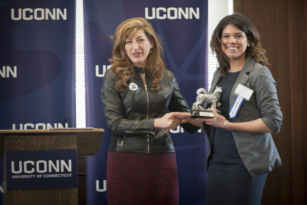 Aneesa Bey of the Chemistry Department receives the Rising Star Award at the UConn Spirit Awards ceremony on March 8, 2016. (Sean Flynn/UConn Photo)