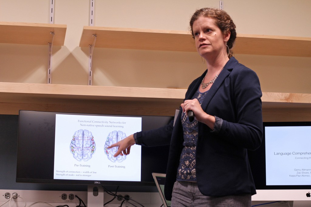 Assistant professor of speech, language, and hearing sciences Emily Myers presents at the Brain Imaging Research Center opening on Sept. 29, 2015. (Bri Diaz/UConn Photo)