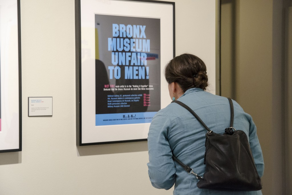 A poster on display as part of the Guerrilla Girls exhibition at the Benton Museum. (Amy Jorgensen/UConn Photo)