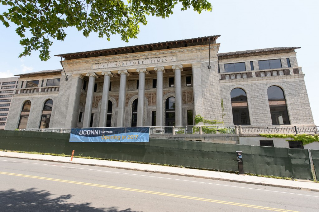 The new downtown campus, centered on the former Hartford Times building, will use space within the Hartford Public Library across the street for classrooms, a library collection, and study areas. (Peter Morenus/UConn Photo)