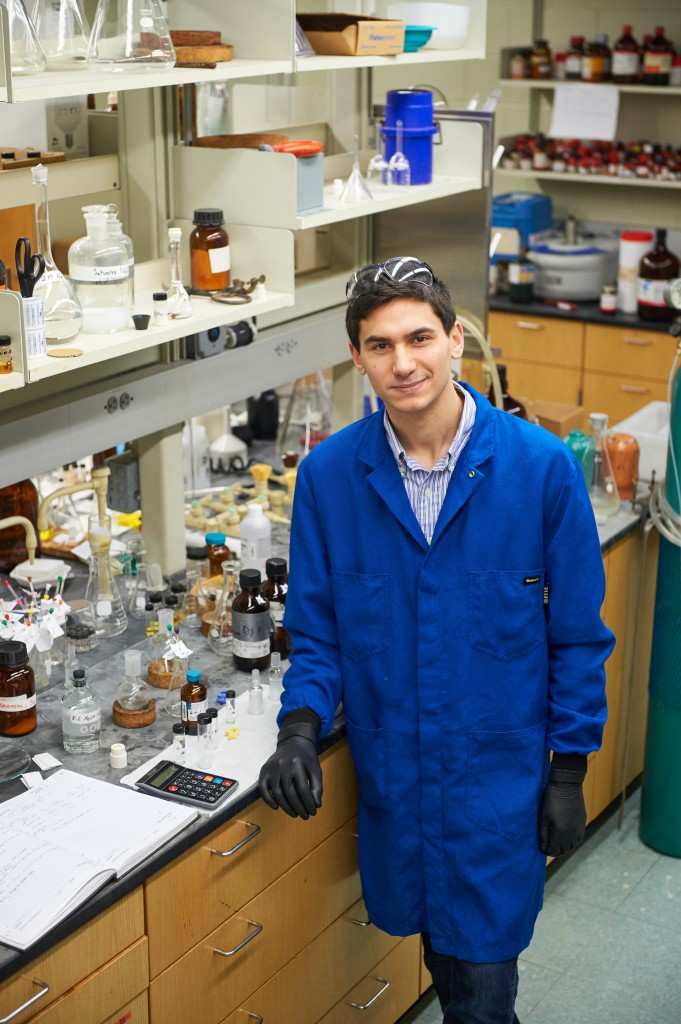 John Ovian '17 (CLAS) in the labJohn Ovian '17 (CLAS) in the lab. (Peter Morenus/UConn Photo)