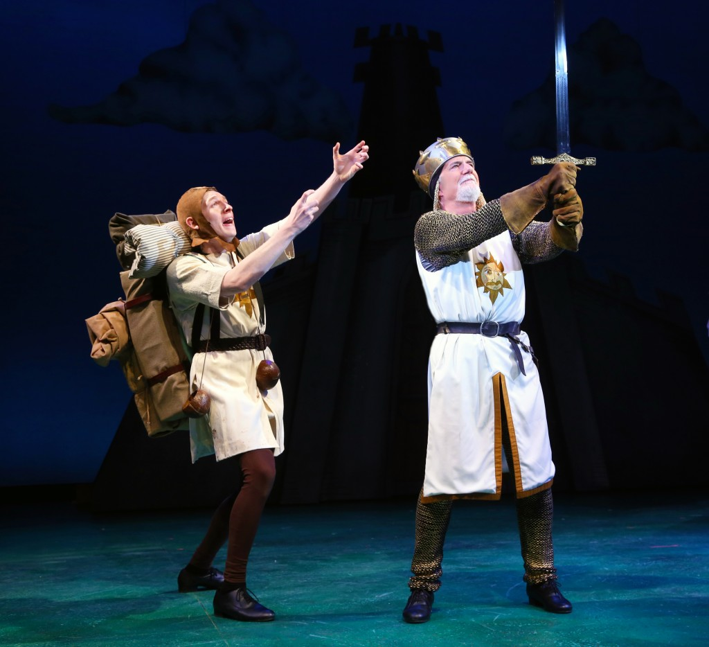 Gavin McNicholl '17 (SFA) as Patsy and Richard Kline as King Arthur star in 'Monty Python's Spamalot,' onstage at Connecticut Repertory Theatre April 21-May 1, 2016. (Gerry Goodstein for UConn)