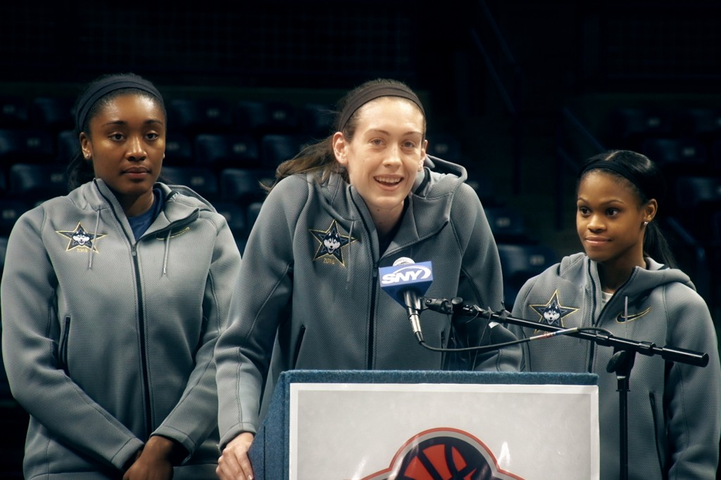 Breanna Stewart said it all when she addressed fans during a pep rally after the Huskies' triumphant return to campus. (Bret Eckhardt/UConn Photo)