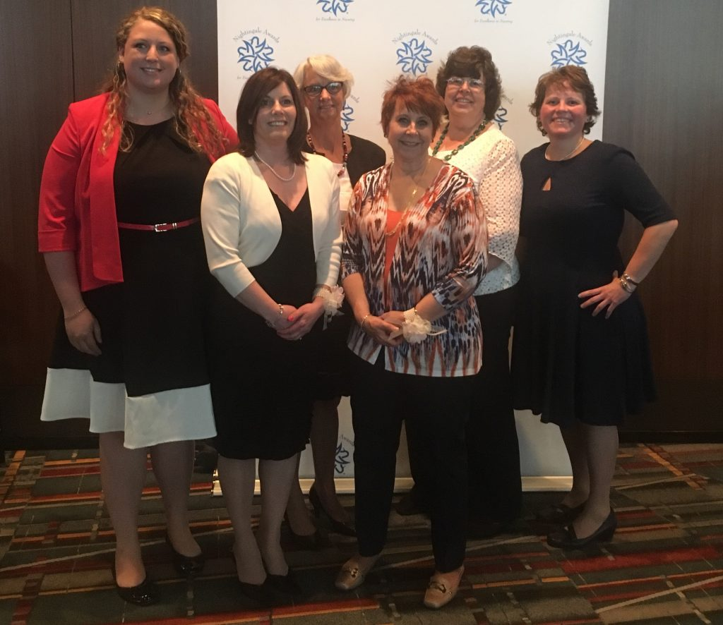 UConn Health Nightingale Nurses at the annual awards ceremony May 5 at the Connecticut Convention Center. From left, Jennifer Sposito, Lisa Gentile, Dawn Smith, Arlene Morin, JoAnne Donaldson Blythe, and Anne Niziolek.