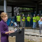 President Susan Herbst speaks during the topping off ceremony of the Innovation Partnership Building on May 31, 2016. (Peter Morenus/UConn Photo)