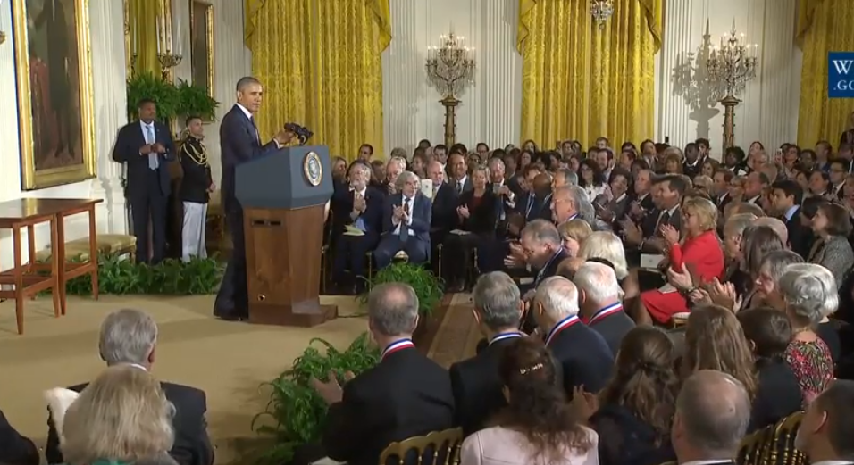 President Obama speaks at the White House ceremony honoring the winners of National Medals of Technology and Innovation. (Credit: Whitehouse.gov)