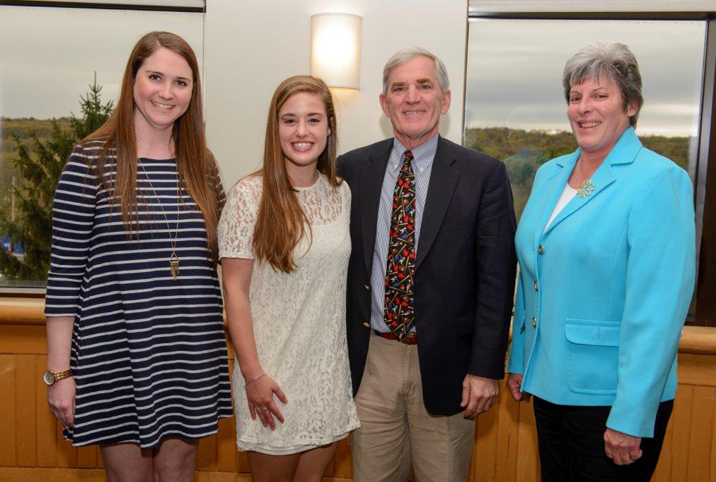 From left, UConn nursing students Jennifer Kline and Nicole Karich, Susan D. Flynn Oncology Nursing Fellowship Program founder Fred Flynn, and Director of Staff and Patient Education/Professional Development Mary Ellen Hobson at UConn Health. (Photo by Janine Gelineau)