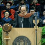 Film director and screenwriter Oliver Stone spoke about academic failure and perseverance during the Graduate School Commencement address. (Bret Eckhardt/UConn Photo)