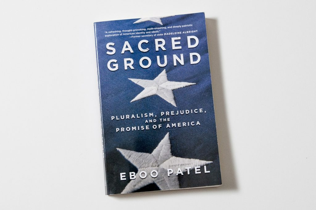 The UConn Reads book selection for 2016-17, 'Sacred Ground,' by Eboo Patel. (Sean Flynn/UConn Photo)