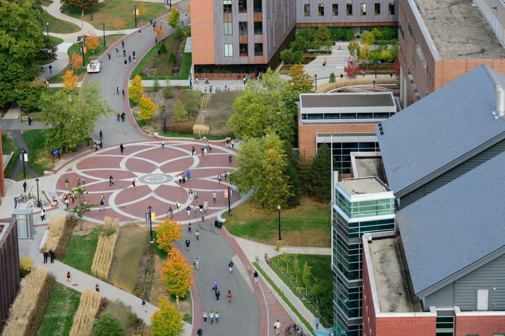 An aerial view of the Storrs campus on Oct. 9, 2013. (Peter Morenus/UConn Photo)