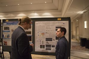 UConn MD/PhD student Cliff Locke of the Yi Wu and Ji Yu laboratories presents his work on optogenetic interrogation of neuronal dendritic spine development at the AAP-ASCI-APSA Joint Meeting poster session.
