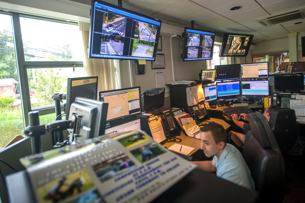 The control room at the UConn Public Safety Police and Fire Station on June 16, 2016. (Sean Flynn/UConn Photo)