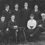 The Board of the Connecticut Campus, with faculty advisor Professor Henry Monteith seated front row right, from the 1915 Nutmeg Yearbook. (Archives & Special Collections, UConn Library)