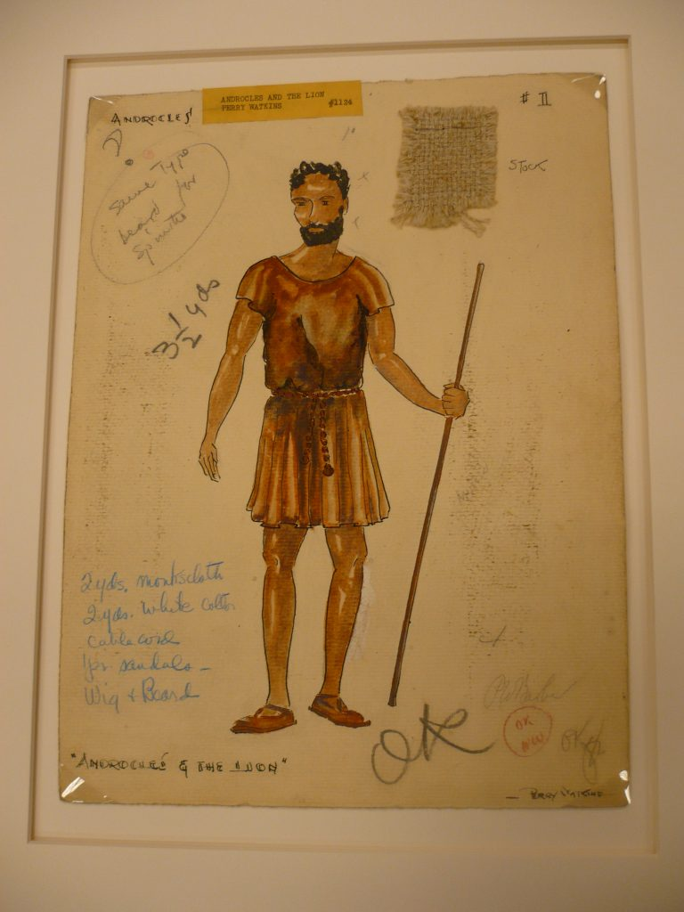 Original costume design by Perry Watkins for Harlem Negro Unit's Androcles and the Lion.